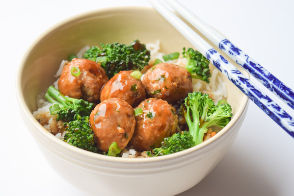 teriyaki meatball broccoli bowls