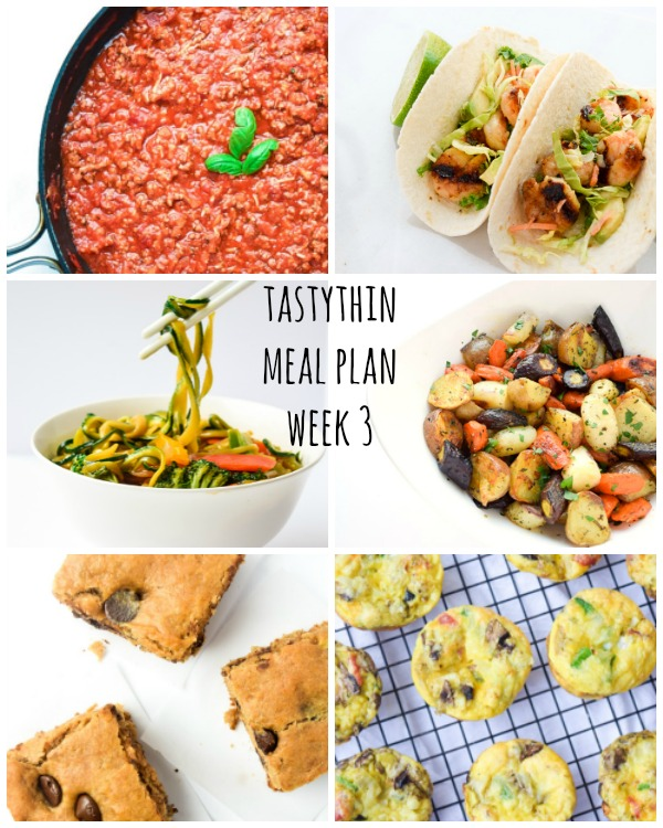 Meal Plan - 1 grab-and-go breakfast, 1 make ahead lunch, 4 dinners, and an optional skinny snack/sweet treat. Happy Meal Prepping! | tastythin.com