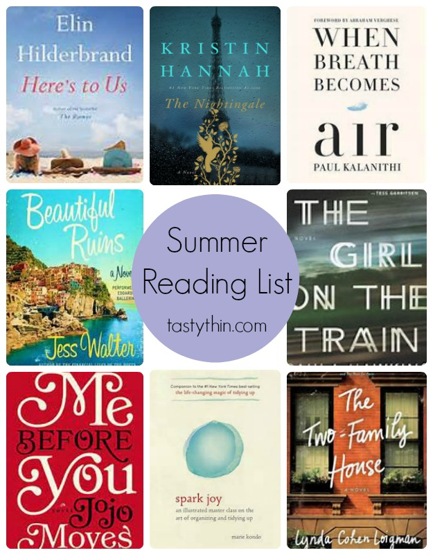 Summer Reading List - my top 10 recommendations for summer 2016. A little bit of everything to enjoy at the beach this summer. | tastythin.com