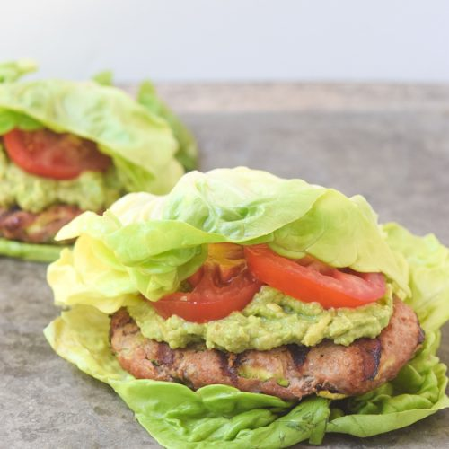 turkey zucchini burgers in lettuce wraps
