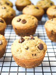 Gluten Free Banana Chocolate Chip Muffins - a delicious banana muffin, super kid-friendly with no gluten or refined sugar! | tastythin.com
