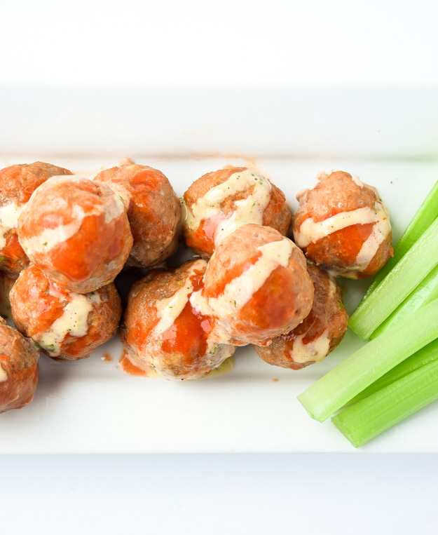 Buffalo Turkey Meatballs (Whole30 Paleo) - super tasty, healthy, and perfect for a game day appetizer! Paleo & Whole30 compliant.   tastythin.com