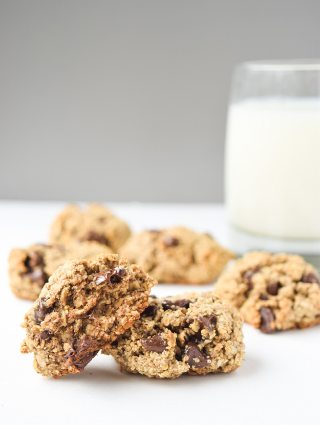 Skinny Oatmeal Chocolate Chip Cookies - these gluten free goodies are packed full of oats and dark chocolate with no refined sugar or flour! | tastythin.com