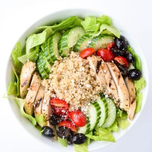 Greek Salad Power Bowls - Tons of protein and fresh Greek flavors make this recipe a perfect one dish meal or make ahead lunch! | tastythin.com
