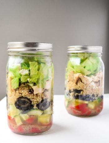 Greek Mason Jar Salads (Make Ahead) - Tons of protein and fresh Greek flavors make this dish a perfect make ahead lunch!   tastythin.com