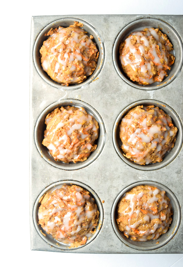 Skinny Carrot Cake Muffins - a healthier take on carrot cake, sweet enough for dessert and healthy enough for breakfast! | tastythin.com