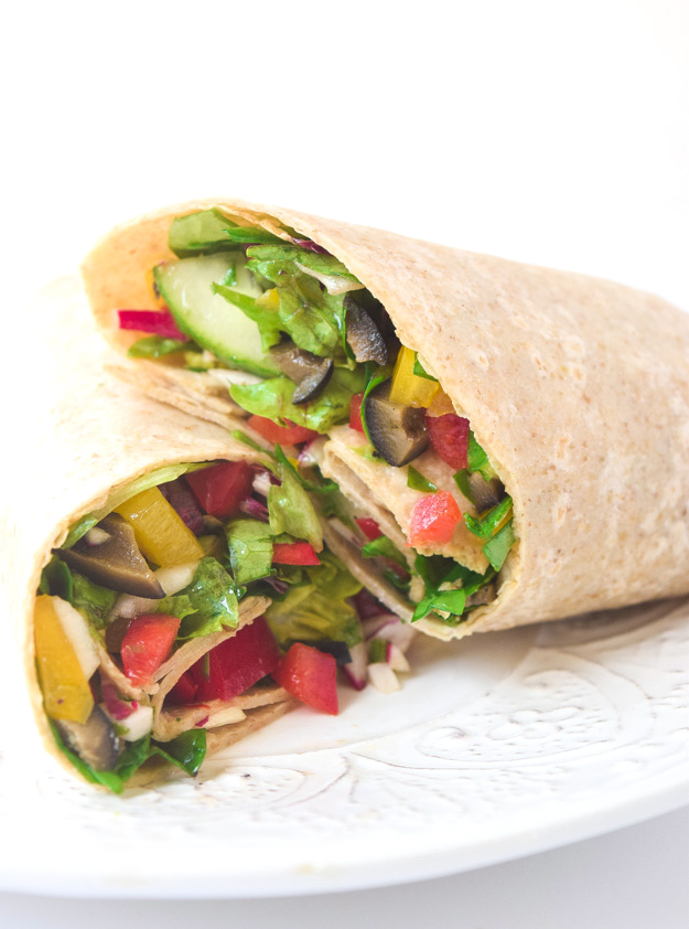 Mediterranean Chopped Salad Wraps - fresh and healthy chopped veggie mix with homemade vinaigrette, can be enjoyed as a salad or wrap! | tastythin.com