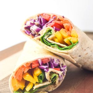 Rainbow Hummus Wraps - crunchy, fresh, and full of flavor, these wraps are a nutritious and satisfying lunch! | tastythin.com