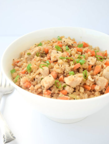 Whole30 Cauliflower Chicken Fried Rice - a fast, nutritious meal that tastes like take-out, but is free of soy and carbs!   tastythin.com