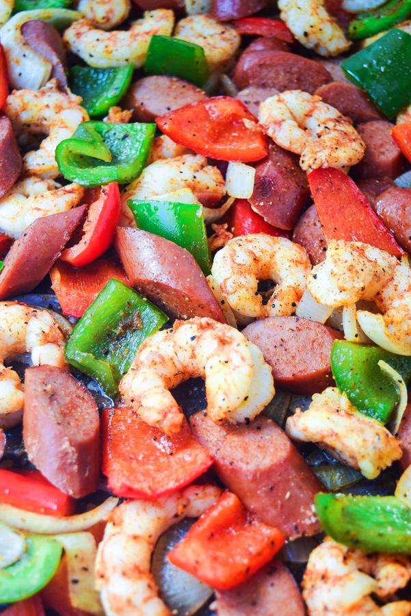 Sheet Pan Shrimp and Sausage Jambalaya