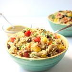 Chicken Verde Quinoa Bowls - full of flavor and protein, these quick bowls are the prefect make ahead lunch or potluck dish!   tastythin.com