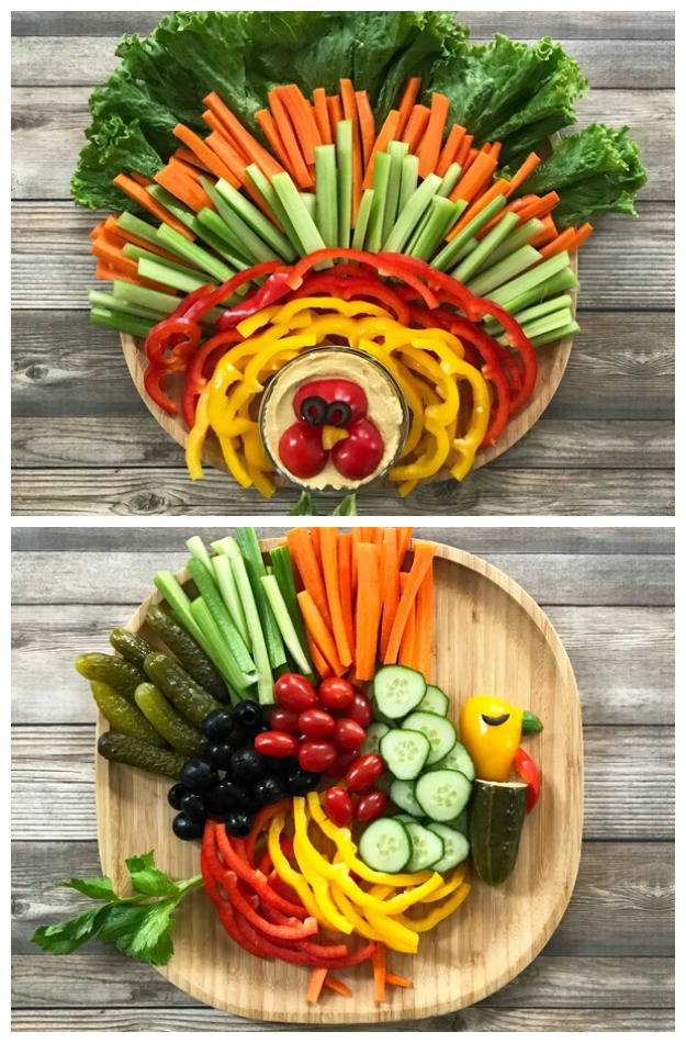 How to Make a Thanksgiving Turkey Veggie Platter - bring some fun to your Thanksgiving menu with these cute turkey veggie platters! | tastythin.com