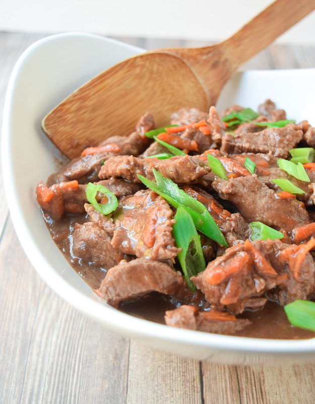 slow cooker mongolian beef in bowl