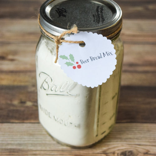 beer bread mix in mason jar with label