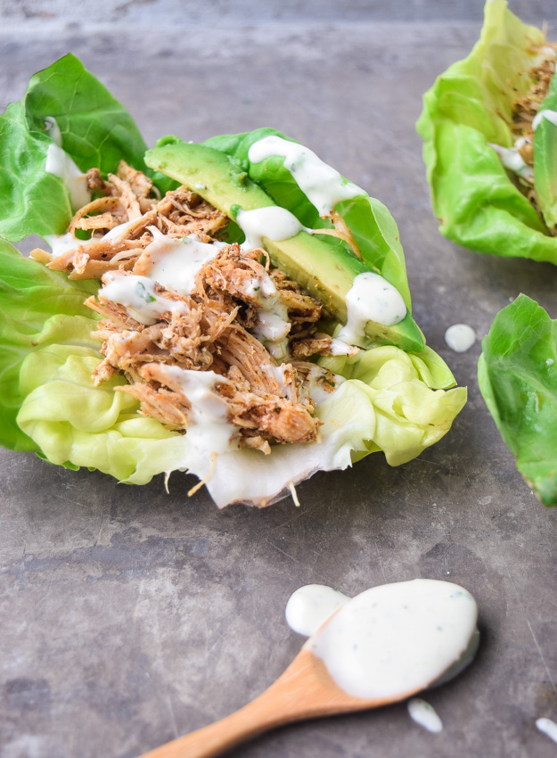 instant pot cool ranch chicken in lettuce cup with whole30 ranch dressing