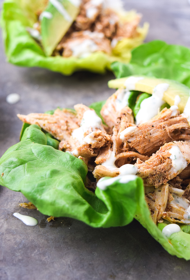 close up instant pot cool ranch chicken in lettuce cup
