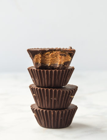 choclate almond butter cups stacked