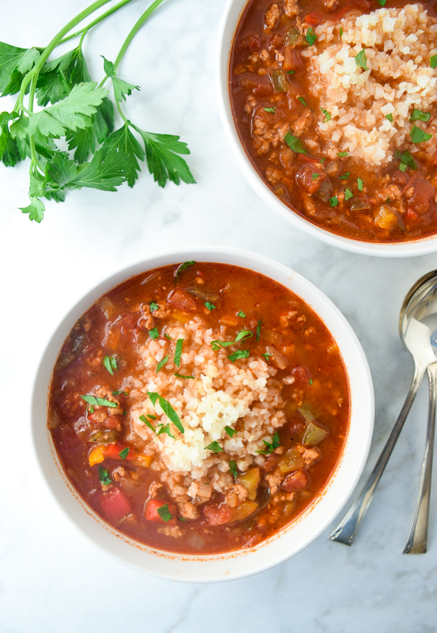 instant pot stuffed pepper taco soup with cauliflower rice