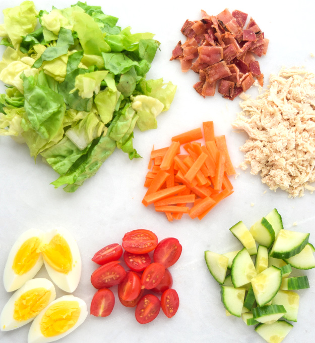 ingredients for mason jar cobb salad