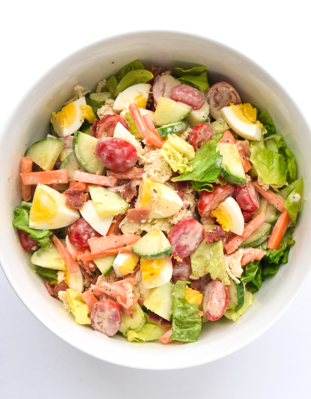 whole30 mason jar cobb salad in bowl