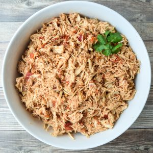 instant pot salsa chicken in a large bowl