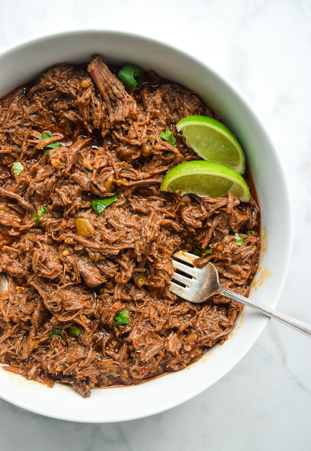 instant pot shredded mexican beef in a bowl
