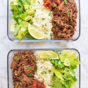 meal prep chipotle beef bowls with cauliflower rice and lettuce