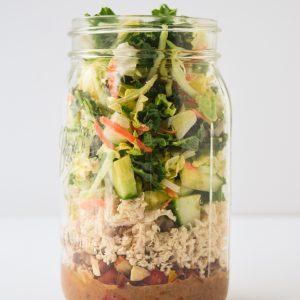 Whole30 Meal Prep Mason Jar Asian Salad in large mason jar