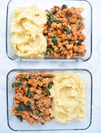 meal prep shepherd's pie in glass containers