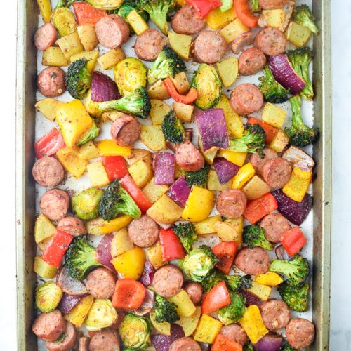 sheet pan sausage and veggies overhead shot