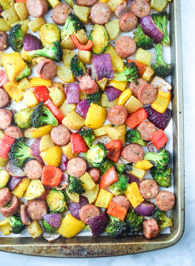 cooked sheet pan sausage and veggies
