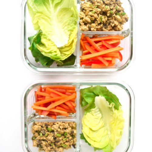 thai chicken lettuce cups in meal prep containers