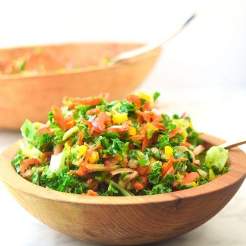chopped detox salad with garlic lemon vinaigrette