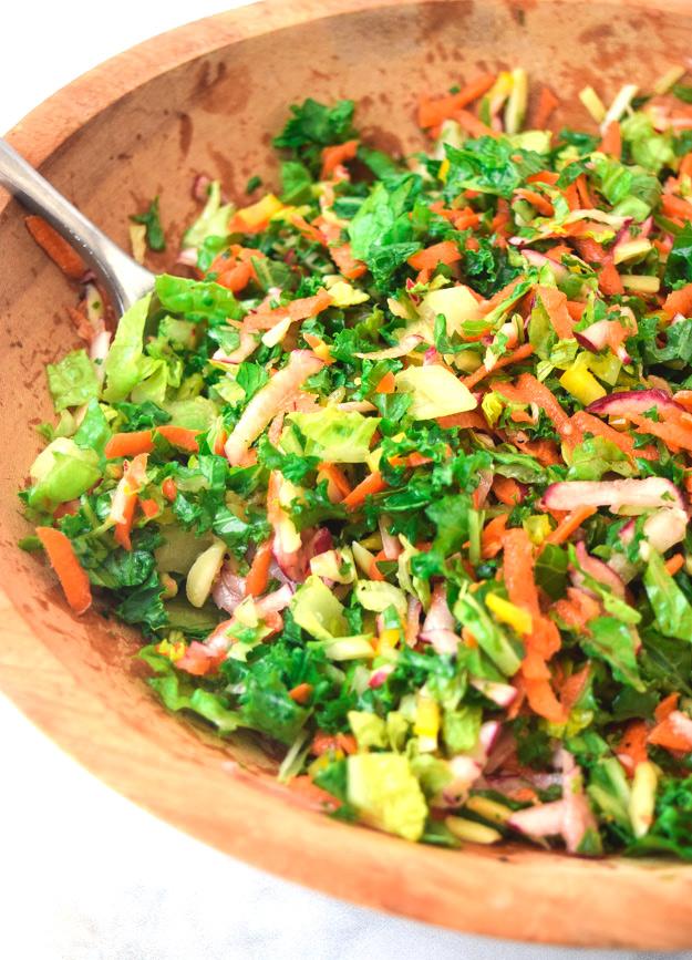 close up of chopped detox salad with garlic lemon vinaigrette