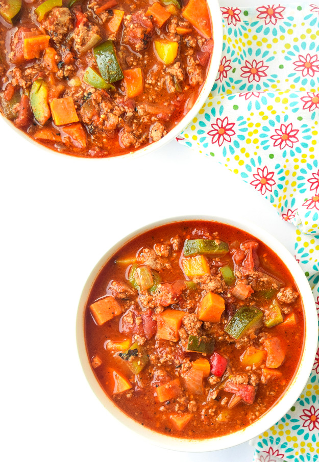 2 bowls of insant pot turkey chili with sweet potatoes