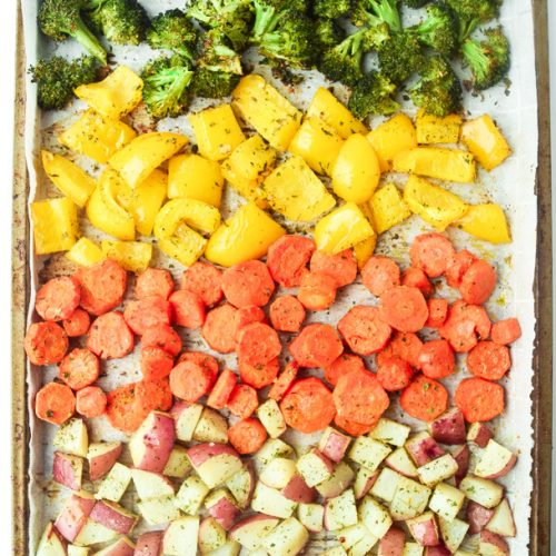 Sheet Pan Ranch Veggies on baking tray