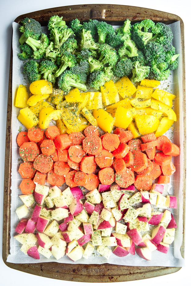 sheet pan veggies seasoned with ranch blend