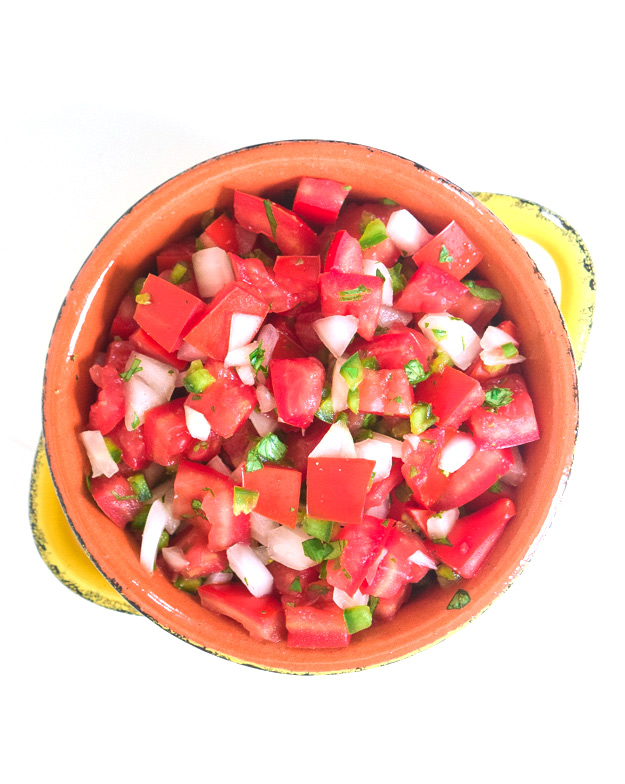 overhead shot of how to make pico de gallo salsa