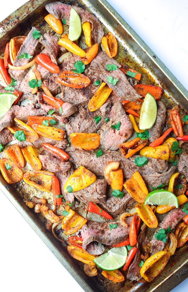 easy sheet pan steak fajitas