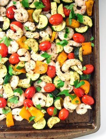 sheet pan summer shrimp and veggies