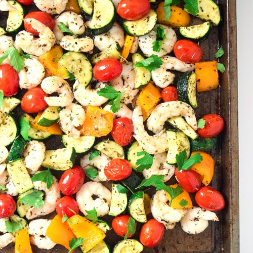 sheet pan summer shrimp and veggies