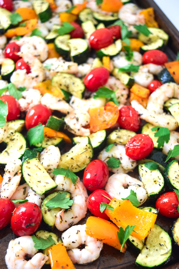 close up sheet pan summer shrimp and veggies