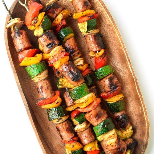 cajun sausage veggie kabobs whole30 paleo