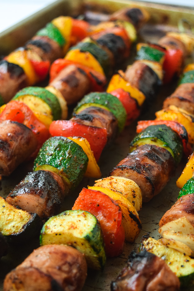 Cajun Sausage and Veggie Kabobs (Whole30 Paleo)