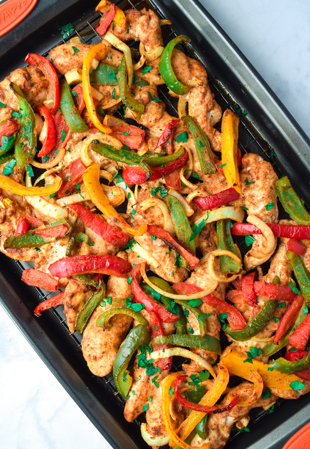 Easy Sheet Pan Chicken Fajitas Whole30 Paleo Keto Tastythin