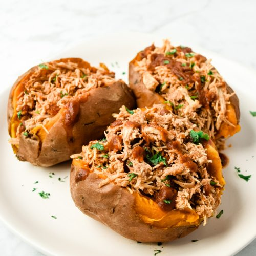 Instant Pot BBQ Chicken Stuffed Sweet Potatoes (Whole30 Paleo)