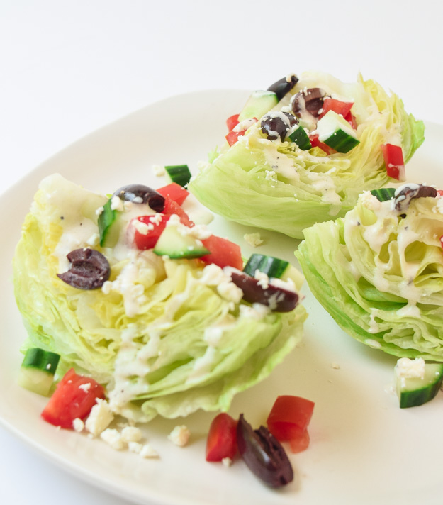 Greek Wedge Salad with drizzle Tzatziki Sauce