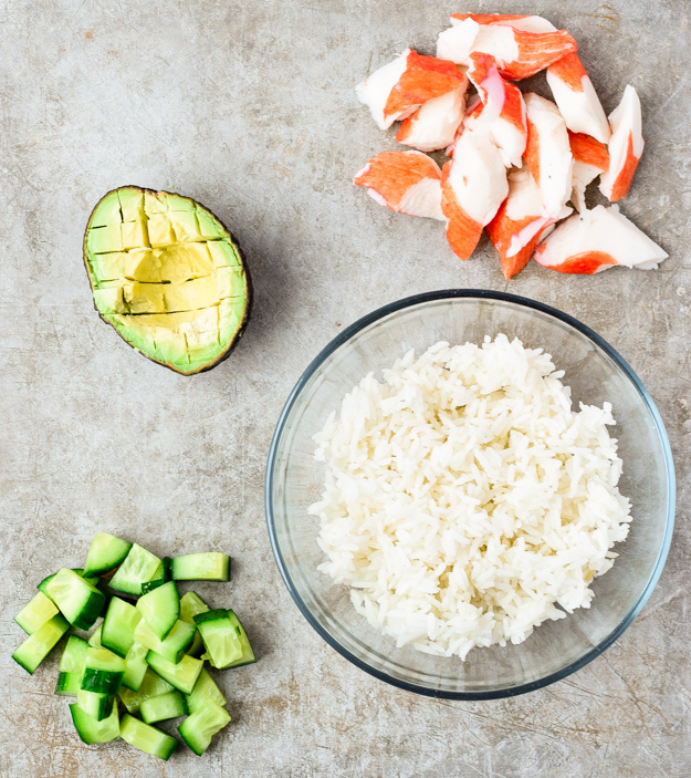 ingredients for california roll sushi bowls