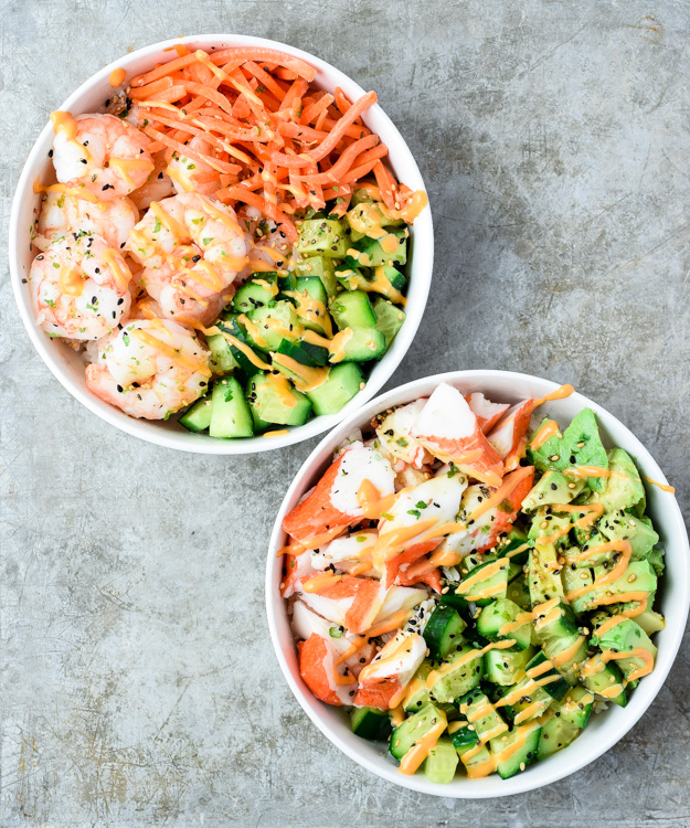 cali roll bowl and shrimp roll bowl