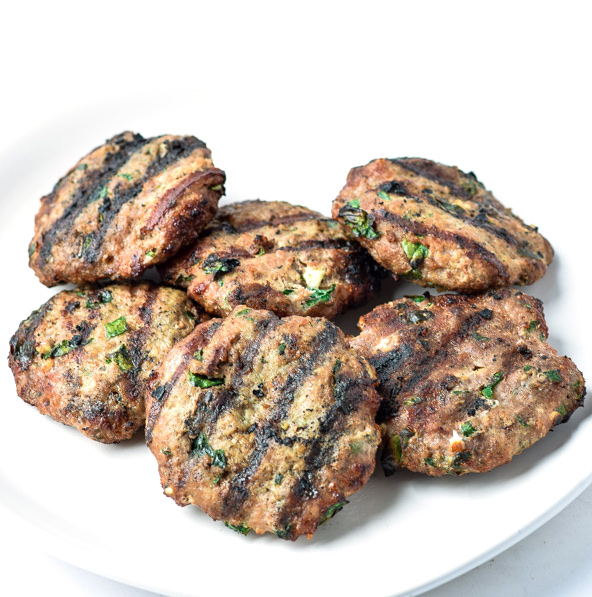 naked grilled turkey burgers with spinach and feta